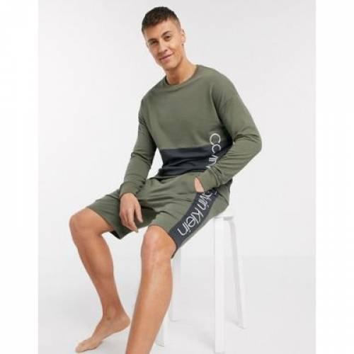 カーキ メンズファッション トップス スウェット トレーナー 【 CALVIN KLEIN PIECED LOUNGE SWEATSHIRT IN KHAKI SUIT 5 COORD 】