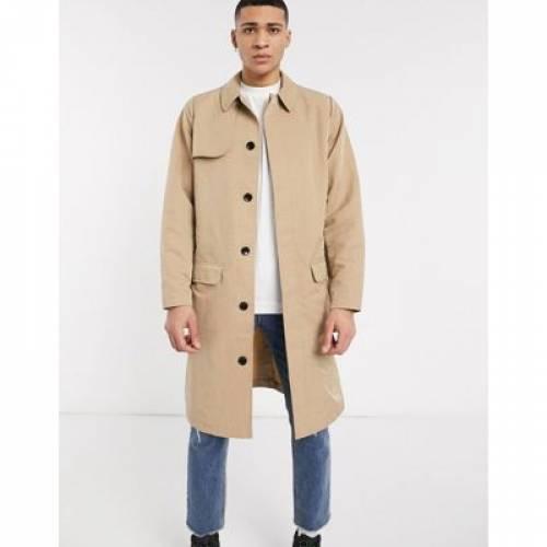 バッグ ベルト メンズファッション コート ジャケット 【 ASOS DESIGN SINGLE BREASTED TRENCH COAT WITH BAG BELT IN STONE 】