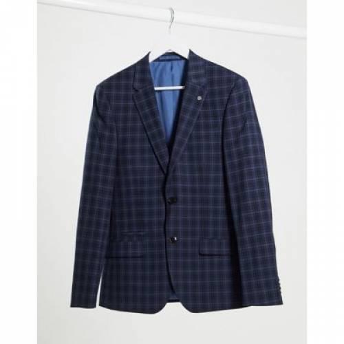 紺 ネイビー メンズファッション コート ジャケット 【 NAVY RIVER ISLAND SKINNY SUIT JACKET IN CHECK 】 ※セットアップではありません
