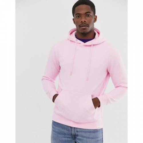 ピンク PULL&BEAR メンズファッション トップス スウェット トレーナー 【 PINK OVERHEAD HOODIE IN 】