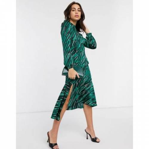 ハイ ドレス 緑 グリーン レディースファッション 【 GREEN LIQUORISH HIGH NECK MIDI DRESS IN ABSTRACT PRINT 】