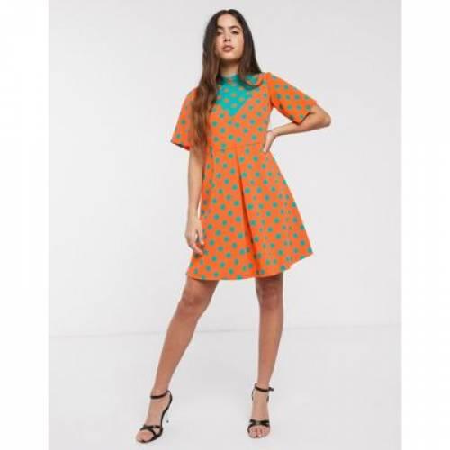 ドレス レディースファッション 【 CLOSET POLKA DOT CONTRAST DRESS 】