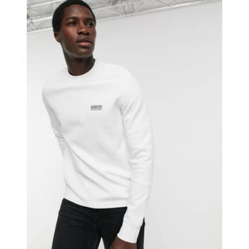 白 ホワイト メンズファッション トップス スウェット トレーナー 【 WHITE BARBOUR INTERNATIONAL DECAL SWEATSHIRT IN 】