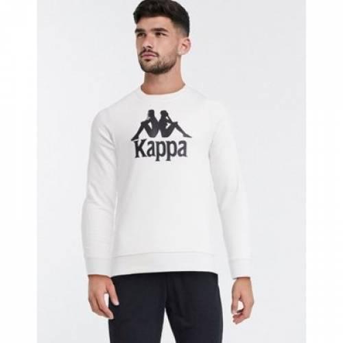 ロゴ 白 ホワイト メンズファッション トップス スウェット トレーナー 【 WHITE KAPPA LARGE LOGO SWEATSHIRT IN 】