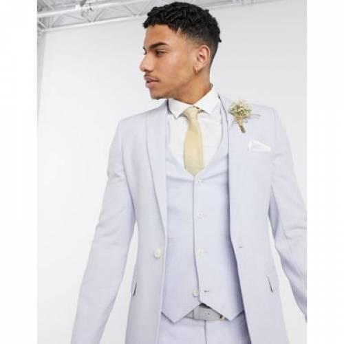メンズファッション コート ジャケット 【 ASOS DESIGN WEDDING SUPER SKINNY SUIT JACKET IN LILAC CROSSHATCH 】 ※セットアップではありません