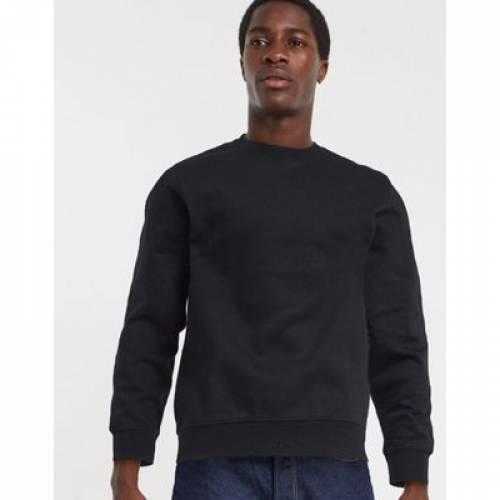 スタンダード 黒 ブラック メンズファッション トップス スウェット トレーナー 【 STANDARD BLACK WEEKDAY SWEATSHIRT IN 】