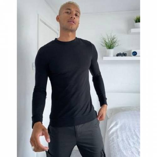 黒 ブラック メンズファッション トップス スウェット トレーナー 【 BLACK ASOS DESIGN ORGANIC MUSCLE SWEATSHIRT IN 】