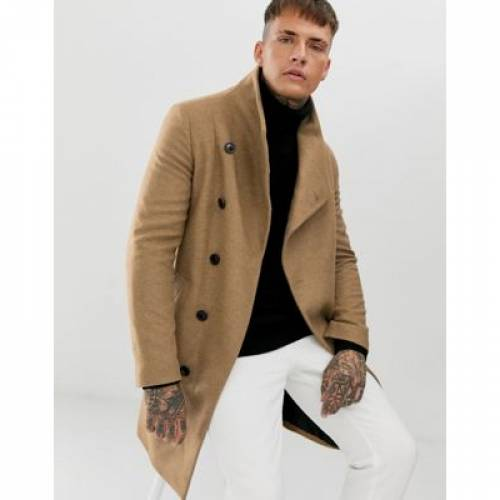 キャメル メンズファッション コート ジャケット 【 CAMEL RELIGION FUNNEL NECK ASYMMETRIC OVERCOAT IN 】