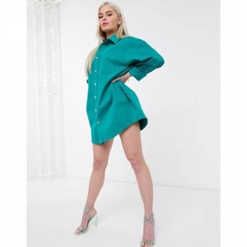 緑 グリーン レディースファッション ドレス 【 GREEN ASOS DESIGN OVERSIZED SHIRT 】
