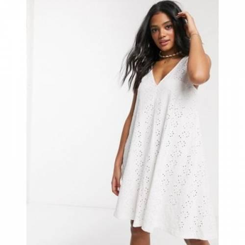 スウィング 白 ホワイト レディースファッション ドレス 【 SWING WHITE ASOS DESIGN BRODERIE MINI SUNDRESS IN 】