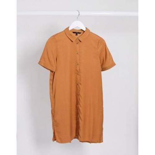 スリーブ ドレス レディースファッション 【 SLEEVE VERO MODA SHORT SHIRT DRESS IN TAN 】
