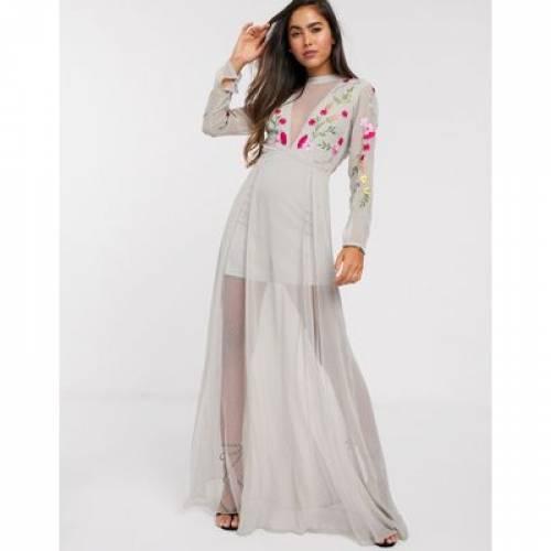 ドレス 灰色 グレ & レディースファッション 【 FROCK FRILL EMBROIDERED MAXI DRESS WITH SHEER PANELS IN GREY 】
