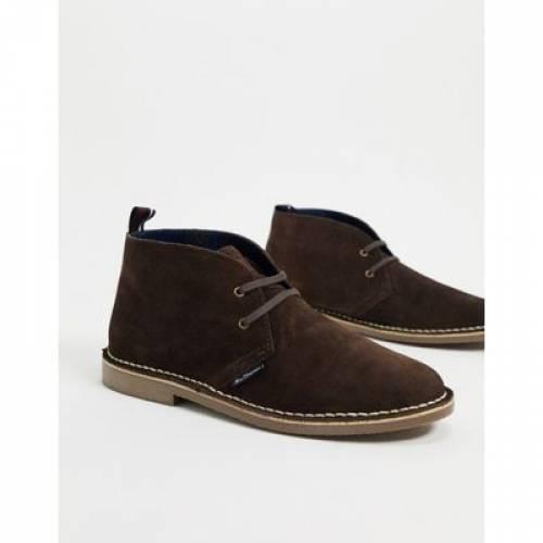 スエード スウェード 茶 ブラウン メンズ ブーツ 【 BROWN BEN SHERMAN SUEDE DESERT BOOTS IN 】