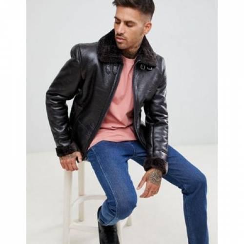 茶 ブラウン 黒 ブラック メンズファッション コート ジャケット 【 BROWN BLACK RIVER ISLAND AVIATOR JACKET IN 】