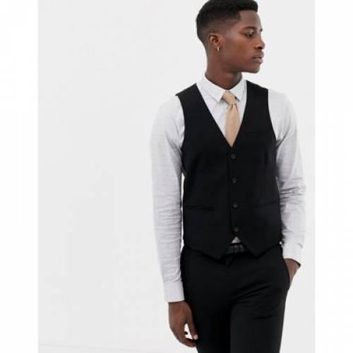 【海外限定】黒 ブラック & メンズファッション トップス ベスト ジレ 【 BLACK ONLY SONS SKINNY WAISTCOAT IN 】