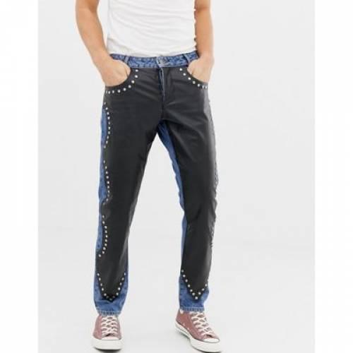 スリム レザー ミッド 青 ブルー メンズファッション ズボン パンツ 【 SLIM BLUE ASOS DESIGN JEANS WITH LEATHER LOOK OVERLAY IN MID WASH 】