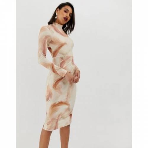 ドレス レディースファッション ワンピース 【 ASOS DESIGN FEATHER PRINT BODYCON MIDI DRESS 】