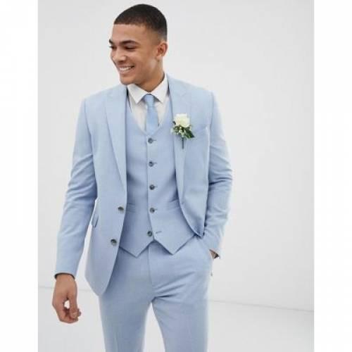 青 ブルー メンズファッション コート ジャケット 【 BLUE ASOS DESIGN WEDDING SKINNY SUIT JACKET IN CROSS HATCH 】 ※セットアップではありません