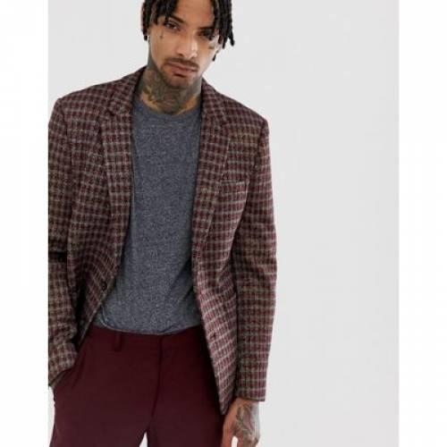 ブレーザー ブレイザー GRAY灰色 グレイ 赤 レッド メンズファッション コート ジャケット 【 GREY RED ASOS DESIGN SKINNY BLAZER IN AND GOLD SPARKLE CHECK 】