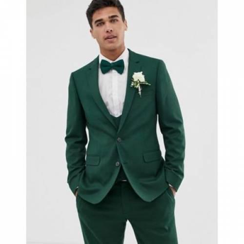 フォレスト 緑 グリーン ミクロ テクスチャー メンズファッション コート ジャケット 【 GREEN MICRO ASOS DESIGN WEDDING SKINNY SUIT JACKET IN FOREST TEXTURE 】 ※セットアップではありません