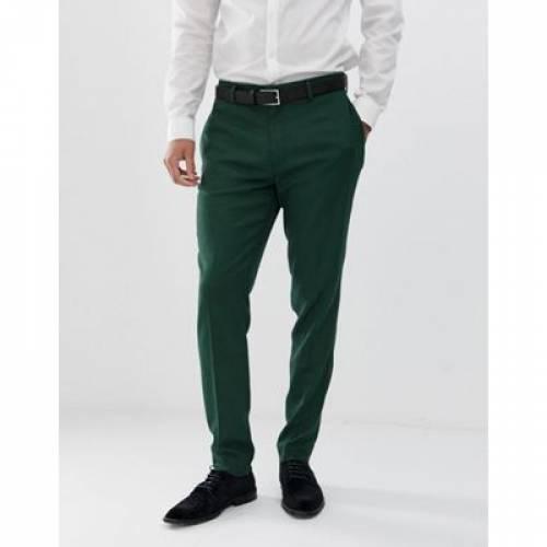 フォレスト 緑 グリーン ミクロ テクスチャー メンズファッション ズボン パンツ 【 GREEN MICRO ASOS DESIGN WEDDING SKINNY SUIT TROUSERS IN FOREST TEXTURE 】