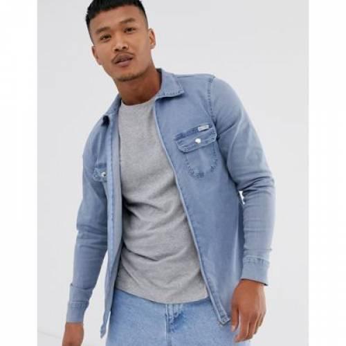 【海外限定】青 ブルー メンズファッション トップス カジュアルシャツ 【 BLUE LIQUOR N POKER SHIRT WITH ZIP CUFF IN LIGHT 】