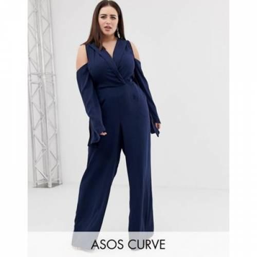 レディースファッション オールインワン サロペット 【 ASOS CURVE CLEAN TUX COLD SHOULDER TIE WAIST JUMPSUIT 】