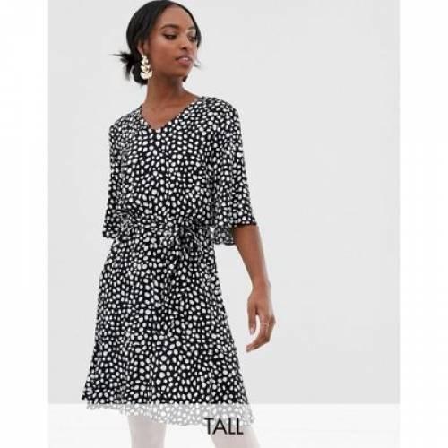 ドレス Y.A.S レディースファッション ワンピース 【 TALL TIE WAIST MINI DRESS IN SPOT PRINT 】