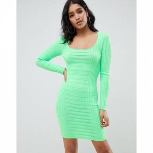【海外限定】ドレス レディースファッション ワンピース 【 ASOS DESIGN MIXED RIB SQUARE NECK MINI DRESS 】