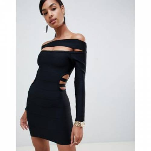 ドレス レディースファッション ワンピース 【 ASOS DESIGN OFF SHOULDER BARDOT MINI BANDAGE DRESS WITH CUT OUT 】