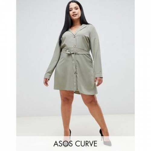 ドレス レディースファッション ワンピース 【 ASOS DESIGN CURVE MINI SHIRT DRESS WITH BUTTONS 】