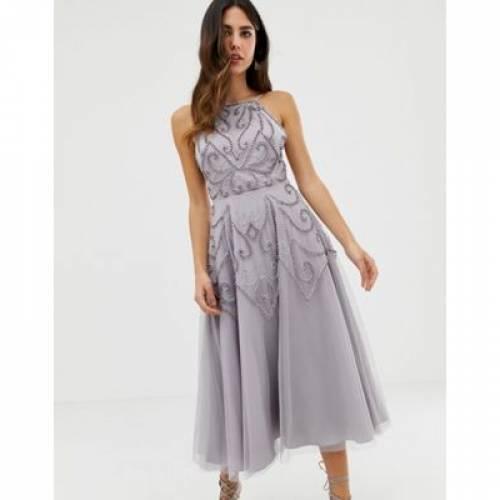 ドレス レディースファッション ワンピース 【 ASOS DESIGN DELICATE BEADED BACKLESS MIDI DRESS 】