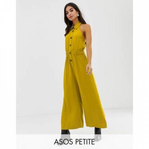 レディースファッション オールインワン サロペット 【 ASOS DESIGN PETITE BUTTON FRONT COLLAR CULOTTE JUMPSUIT 】