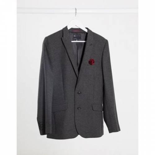 チャコール メンズファッション コート ジャケット 【 ASOS DESIGN WEDDING SUPER SKINNY WOOL MIX SUIT JACKET IN CHARCOAL HERRINGBONE 】 ※セットアップではありません