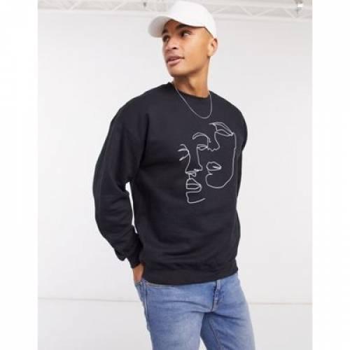 スウェット 黒 ブラック メンズファッション トップス トレーナー 【 SWEAT BLACK TOPMAN WITH FACE SKETCH PRINT IN 】