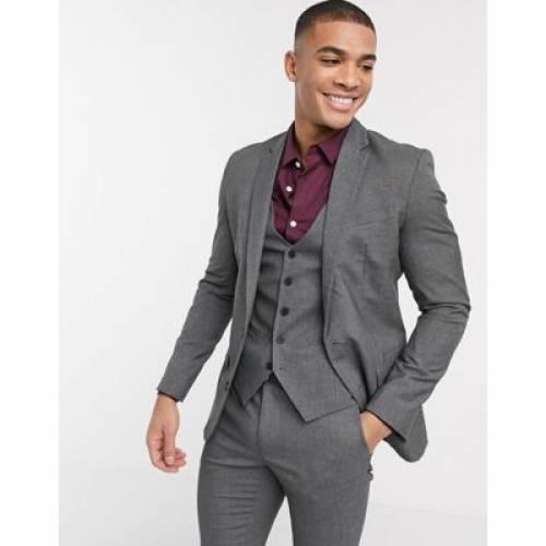 灰色 グレ メンズファッション コート ジャケット 【 NEW LOOK SKINNY SUIT JACKET IN DARK GREY 】 ※セットアップではありません
