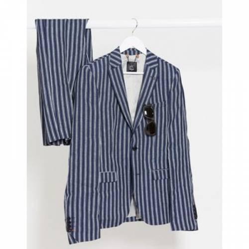 紺 ネイビー ストライプ メンズファッション コート ジャケット 【 NAVY STRIPE AVAIL LONDON SKINNY FIT LINEN SUIT JACKET IN 】 ※セットアップではありません