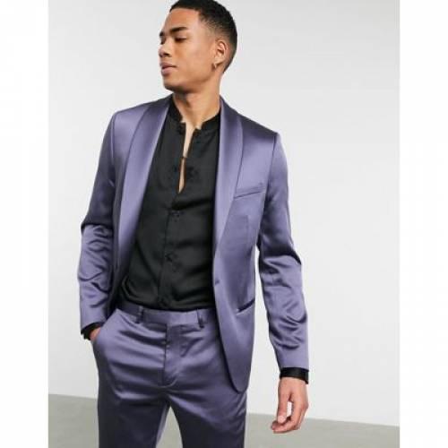 サテン メンズファッション コート ジャケット 【 TWISTED TAILOR SKINNY SATIN SUIT JACKET IN LILAC 】 ※セットアップではありません