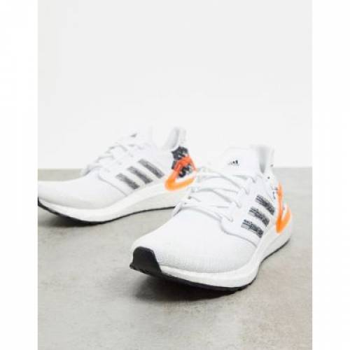 スニーカー 白 ホワイト 黒 ブラック & メンズ 【 WHITE BLACK ADIDAS ULTRABOOST 20 TRAINERS IN SIGNAL CORAL 】