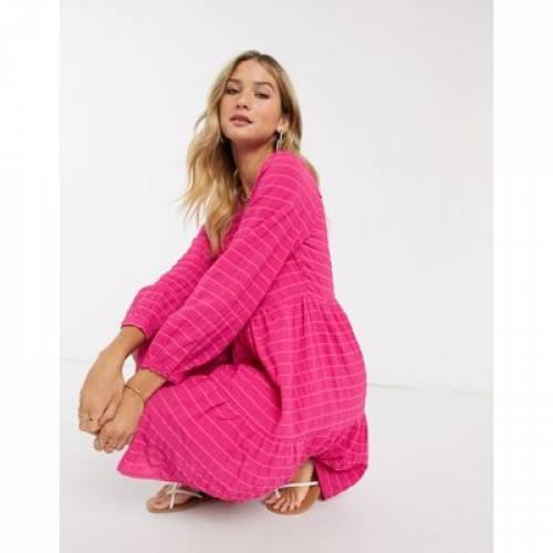 ドレス ピンク Y.A.S レディースファッション 【 PINK TEXTURED SMOCK DRESS IN 】
