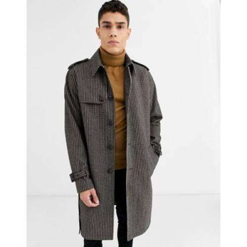 メンズファッション コート ジャケット 【 ASOS DESIGN SINGLE BREASTED WOOL MIX TRENCH COAT IN CHECK 】
