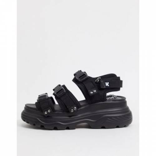 バックル 黒 ブラック メンズ サンダル 【 BLACK KOI FOOTWEAR CHUNKY BUCKLE STRAPPED SANDALS IN 】