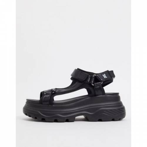 黒 ブラック メンズ サンダル 【 BLACK KOI FOOTWEAR CHUNKY SANDALS IN 】