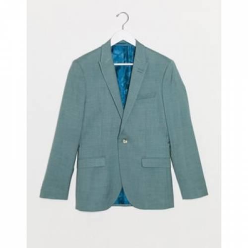 緑 グリーン メンズファッション コート ジャケット 【 GREEN TOPMAN SKINNY FIT SUIT JACKET IN 】 ※セットアップではありません