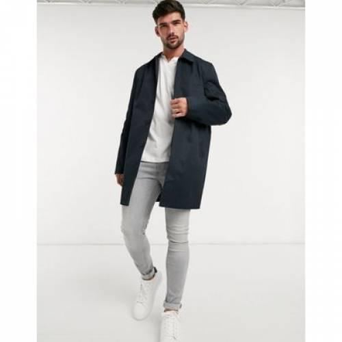 紺 ネイビー メンズファッション コート ジャケット 【 NAVY NEW LOOK SINGLE BREASTED MAC IN 】