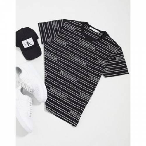 ストライプ ロゴ Tシャツ 黒 ブラック メンズファッション トップス カットソー 【 STRIPE BLACK CALVIN KLEIN JEANS LOGO ALL OVER PRINT TSHIRT IN 】