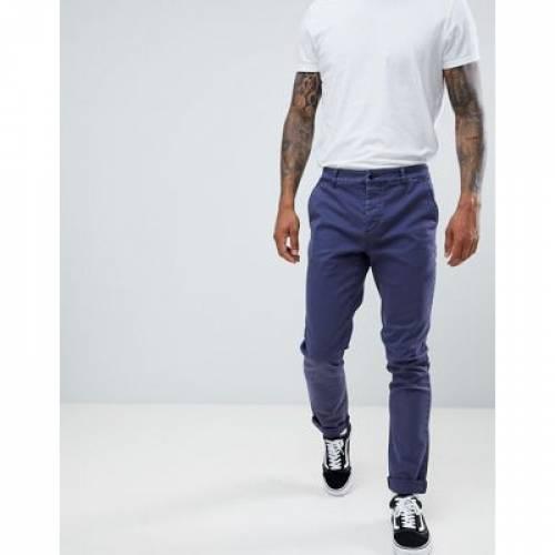 スリム 青 ブルー メンズファッション ズボン パンツ 【 SLIM BLUE ASOS DESIGN CHINOS IN DARK WASH WITH TURN UP 】