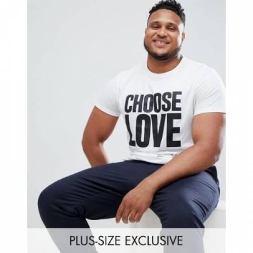 Tシャツ 白 ホワイト メンズファッション トップス カットソー 【 WHITE HELP REFUGEES CHOOSE LOVE PLUS TSHIRT IN ORGANIC COTTON 】
