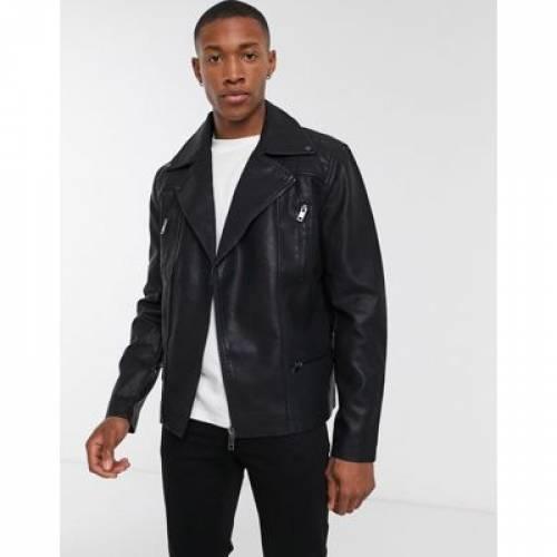黒 ブラック メンズファッション コート ジャケット 【 BLACK NEW LOOK BIKER JACKET WITH ZIP DETAIL IN 】