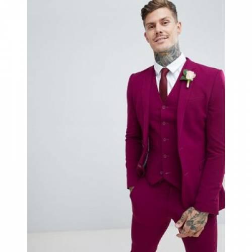 【海外限定】メンズファッション コート ジャケット 【 ASOS DESIGN WEDDING SUPER SKINNY SUIT JACKET IN PLUM 】 ※セットアップではありません